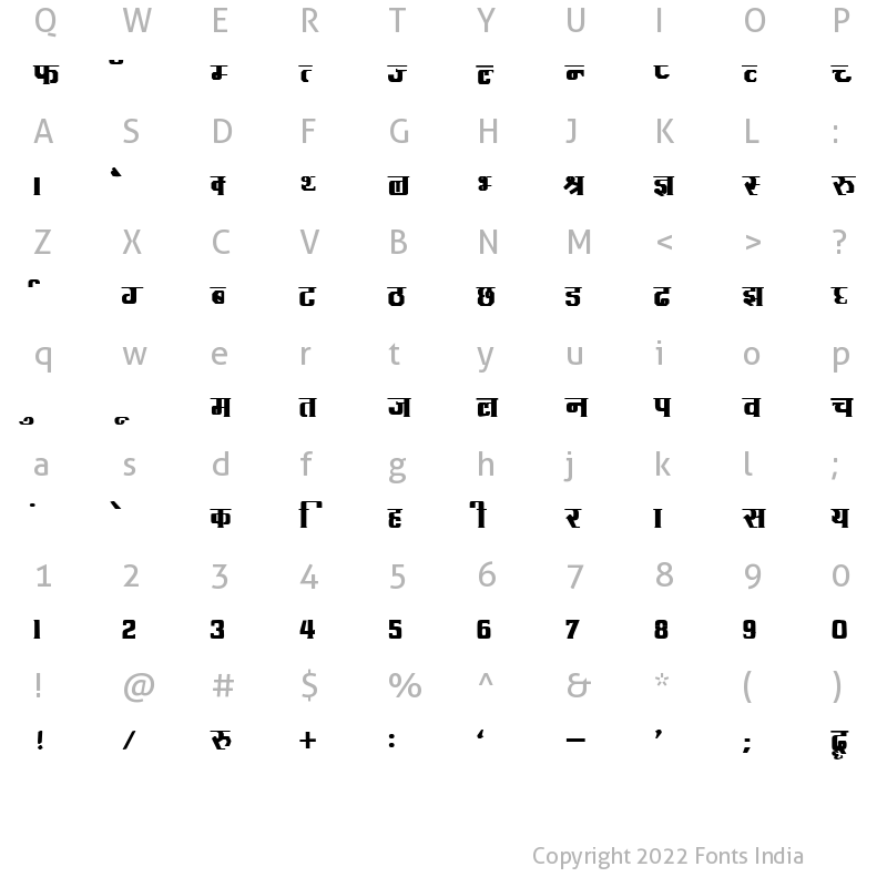 Character Map of Kruti Dev 091 Bold