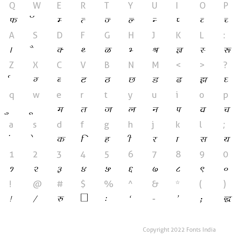 Character Map of Kruti Dev 142 Italic