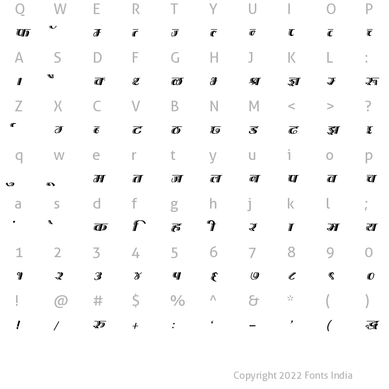 Character Map of Kruti Dev 200 Italic