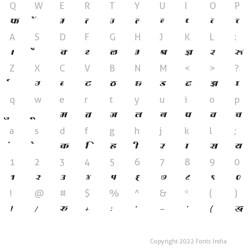 Character Map of Kruti Dev 202 Italic