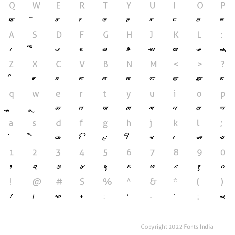 Character Map of Kruti Dev 360 Bold