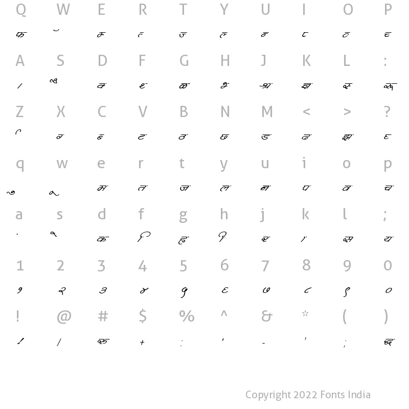 Character Map of Kruti Dev 360 Italic