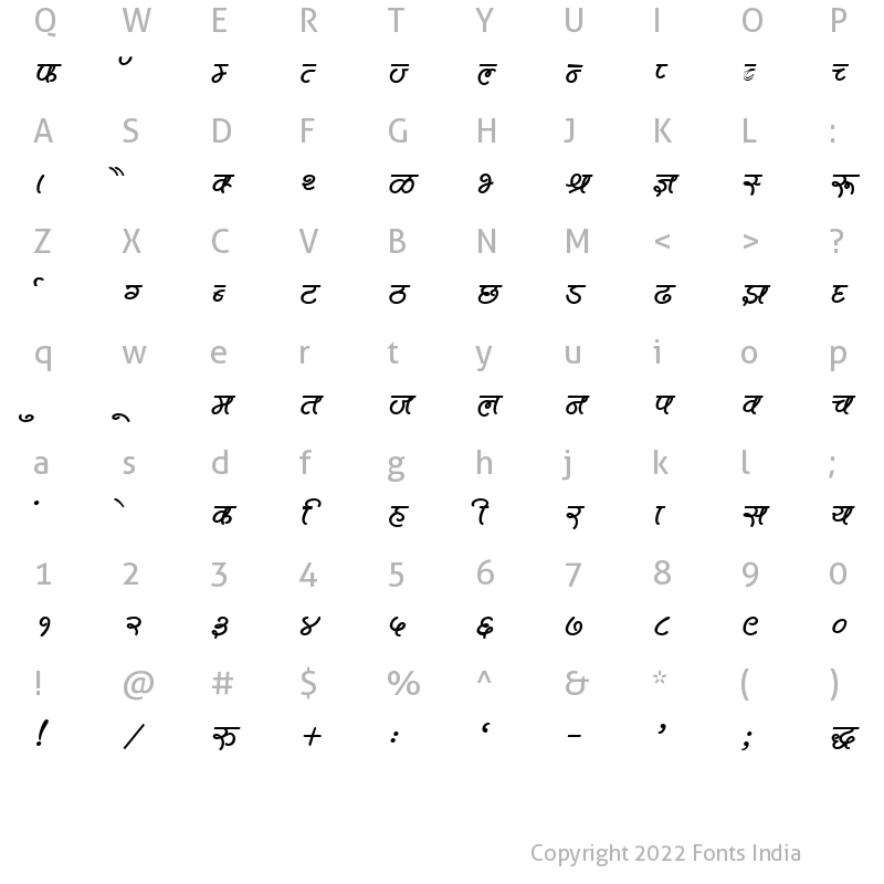 Character Map of Kruti Dev 600 Bold